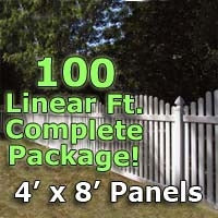 100 ft Complete Solid PVC Vinyl Open Top Arched Picket Fencing Package - 4' x 8' Fence Panels w/ 3