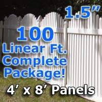 100 ft Complete Solid PVC Vinyl Open Top Arch Picket Fencing Package - 4' x 8' Fence Panels w/ 1.5
