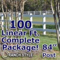 100 ft Complete Solid 3 Rail Ranch PVC Vinyl Fencing Package - Three Rail Fence