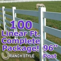 100 ft Complete Solid 4 Rail Ranch PVC Vinyl Fencing Package - Four Rail Fence