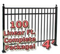 100 ft Complete Elegant Residential Aluminum Fence 4' High Fencing Package