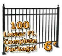 100 ft Complete Elegant Residential Aluminum Fence 6' High Fencing Package