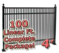 100 ft Complete Double Picket Residential Aluminum Fence 4' High Fencing Package