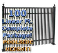 100 ft Complete Double Picket Residential Aluminum Fence 54