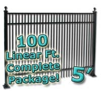 100 ft Complete Double Picket Residential Aluminum Fence 5' High Fencing Package