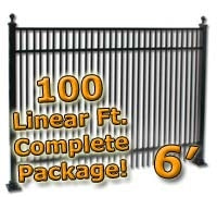 100 ft Complete Double Picket Residential Aluminum Fence 6' High Fencing Package