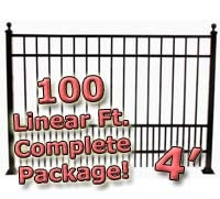 100 ft Complete Puppy Panel Residential Aluminum Fence 4' High Fencing Package
