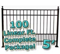 100 ft Complete Puppy Panel Residential Aluminum Fence 5' High Fencing Package