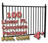 100 ft Complete Pool Code Residential Aluminum Fence 4' High Fencing Package
