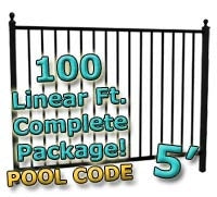100 ft Complete Pool Code Residential Aluminum Fence 5' High Fencing Package