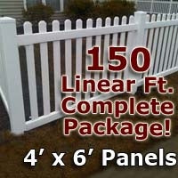 150 ft Complete Solid PVC Vinyl Open Top Picket Fencing Package - 4' x 6' Fence Panels w/ 3