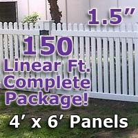 150 ft Complete Solid PVC Vinyl Open Top Straight Picket Fencing Package - 4' x 6' Fence Panels w/ 1.5