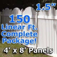 150 ft Complete Solid PVC Vinyl Open Top Arch Picket Fencing Package - 4' x 8' Fence Panels w/ 1.5