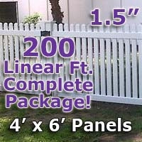 200 ft Complete Solid PVC Vinyl Open Top Straight Picket Fencing Package - 4' x 6' Fence Panels w/ 1.5