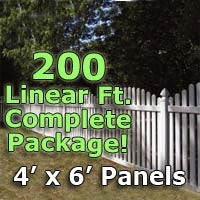 200 ft Complete Solid PVC Vinyl Open Top Arched Picket Fencing Package - 4' x 6' Fence Panels w/ 3