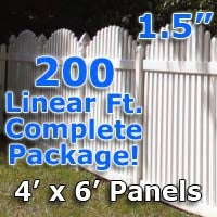 200 ft Complete Solid PVC Vinyl Open Top Arch Picket Fencing Package - 4' x 6' Fence Panels w/ 1.5