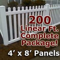 200 ft Complete Solid PVC Vinyl Open Top Picket Fencing Package - 4' x 8' Fence Panels w/ 3