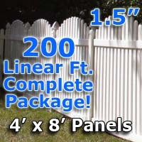 200 ft Complete Solid PVC Vinyl Open Top Arch Picket Fencing Package - 4' x 8' Fence Panels w/ 1.5