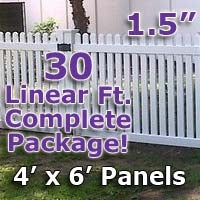 30 ft Complete Solid PVC Vinyl Open Top Straight Picket Fencing Package - 4' x 6' Fence Panels w/ 1.5