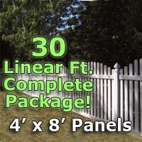 30 ft Complete Solid PVC Vinyl Open Top Arched Picket Fencing Package - 4' x 8' Fence Panels w/ 3