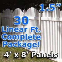 30 ft Complete Solid PVC Vinyl Open Top Arch Picket Fencing Package - 4' x 8' Fence Panels w/ 1.5