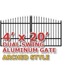 4' x 20' Residential Dual Aluminum Arch Style Driveway Gate