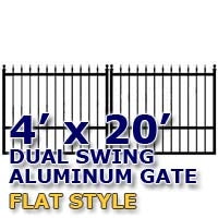 4' x 20' Residential Dual Aluminum Flat Style Driveway Gate