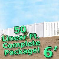 50 ft Complete Solid PVC Vinyl Semi-Privacy Fence 6' Wide Fencing Package