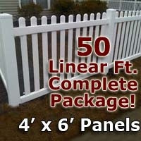 "50 ft Complete Solid PVC Vinyl Open Top Picket Fencing Package - 4' x 6' Fence Panels w/ 3"" Spacing"