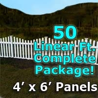 50 ft Complete Solid PVC Vinyl Open Top Scallop Picket Fencing Package - 4' x 6' Fence Panels w/ 3