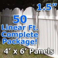 "50 ft Complete Solid PVC Vinyl Open Top Arch Picket Fencing Package - 4' x 6' Fence Panels w/ 1.5"" Spacing"