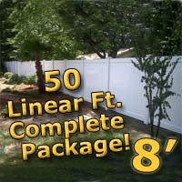 50 ft Complete Solid PVC Vinyl Privacy Fence 8' Wide Fencing Package