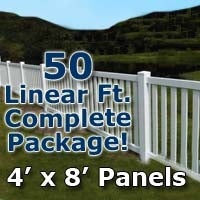 "50 ft Complete Solid PVC Vinyl Closed Top Picket Fencing Package - 4' x 8' Fence Panels w/ 3"" Spacing"