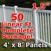 50 ft Complete Solid PVC Vinyl Closed Top Picket Fencing Package - 4' x 8' Fence Panels w/ 1.5
