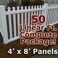 50 ft Complete Solid PVC Vinyl Open Top Picket Fencing Package - 4' x 8' Fence Panels w/ 3