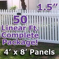 "50 ft Complete Solid PVC Vinyl Open Top Straight Picket Fencing Package - 4' x 8' Fence Panels w/ 1.5"" Spacing"