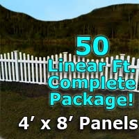 "50 ft Complete Solid PVC Vinyl Open Top Scallop Picket Fencing Package - 4' x 8' Fence Panels w/ 3"" Spacing"