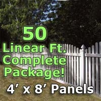 50 ft Complete Solid PVC Vinyl Open Top Arched Picket Fencing Package - 4' x 8' Fence Panels w/ 3