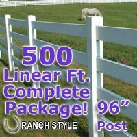 500 ft Complete Solid 4 Rail Ranch PVC Vinyl Fencing Package - Four Rail Fence