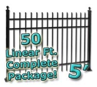50 ft Complete Spear Top Residential Aluminum Fence 5' High Fencing Package