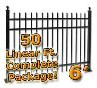 50 ft Complete Spear Top Residential Aluminum Fence 6' High Fencing Package