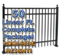"50 ft Complete Elegant Residential Aluminum Fence 54"" Pool Fencing Package"