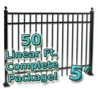 50 ft Complete Elegant Residential Aluminum Fence 5' High Fencing Package