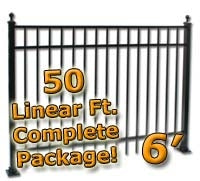 50 ft Complete Elegant Residential Aluminum Fence 6' High Fencing Package