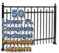 "50 ft Complete Spear Smooth Top Residential Aluminum Fence 54"" Pool Fencing Package"