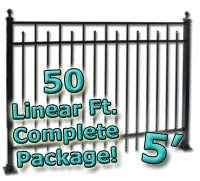 50 ft Complete Spear Smooth Top Residential Aluminum Fence 5' High Fencing Package