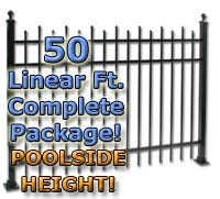 "50 ft Complete Staggered Pickets Residential Aluminum Fence 54"" Pool Fencing Package"