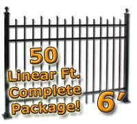 50 ft Complete Staggered Pickets Residential Aluminum Fence 6' High Fencing Package