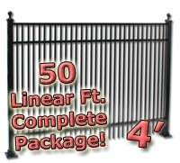 50 ft Complete Double Picket Residential Aluminum Fence 4' High Fencing Package