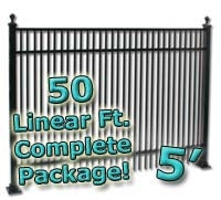 50 ft Complete Double Picket Residential Aluminum Fence 5' High Fencing Package